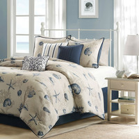 Queen Size Nautical Starfish Beach Shells Coastal 7 Piece Bed Bag Comforter Set