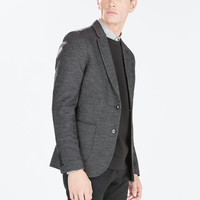Marl blazer with faux leather piping