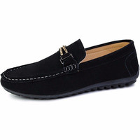 Men Metal Suede British Style Soft Slip On Flat Casual Loafers