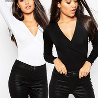 ASOS Wrap Front Body With Long Sleeves 2 Pack Save 10%