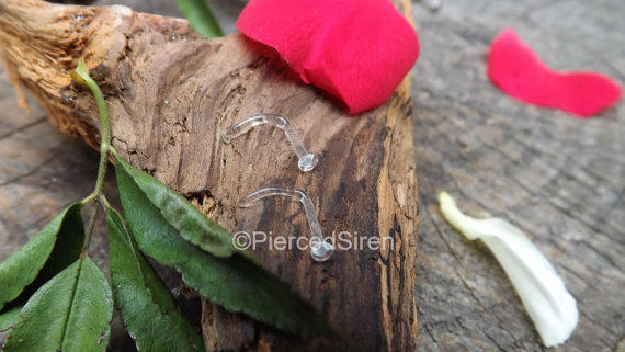 Nose Piercing Retainers 20g Clear L Bend From Sirenbodyjewelry On
