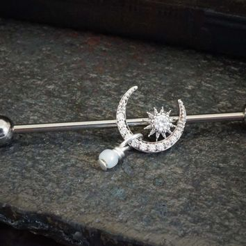 Silver Steel Crystal Moon and Star Industrial Barbell