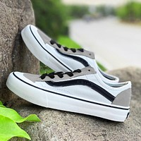 Onewel VANS shoes old school skateboard shoes canvas shoes White black line sneakers