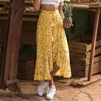 Long Beach Bohemian Women Skirt Split Ruffle Tassel High Waist Skirts Casual Skirts