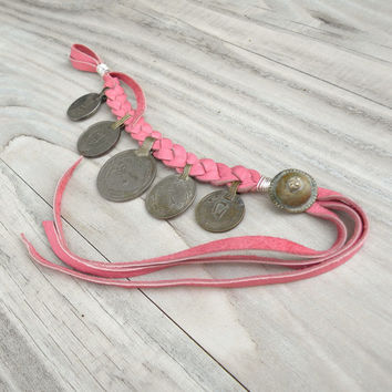 Gypsy Coin Bracelet, Anklet, Pink Buckskin Leather, Adjustable, Tribal, Belly Dance Jewelry