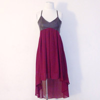 Faux Leather Bare Back Strappy Cross High Low Hem Dress (Small/Indie Brands)