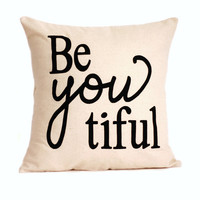 "beYOUtiful Pillow Cover // 16""x16"" Pillow Cover"