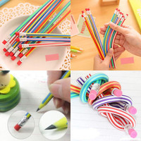 1 Set 3Pcs Colorful Magic Pencil Flexible Bendy Soft Pen With Eraser For Kids