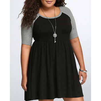 Casual Scoop Neck Color Block Plus Size Half Sleeves Dress For Women