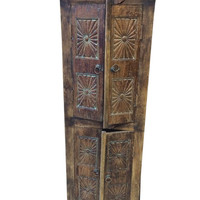 Brown Patina Chakra Carved From India/Cabinet Furniture rustic Old Door Armoire