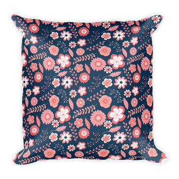 Navy and Coral Square Pillow