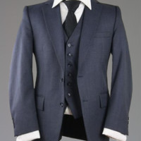 Vintage Botany 500 Navy Twill Wool 3 Piece Vested Suit 40 S Monkey Suit