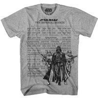 Star Wars The Imperial March Sheet Lyrics Adult Gray T-Shirt