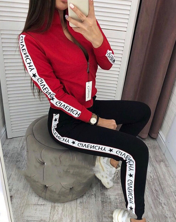 Image of GIVENCHY Women Long Sleeve zipper Jacket Pants Two-Piece