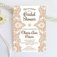 Lace bridal shower invitation - Chic brown lace invitation printed on luxury cream/white pearlescent paper