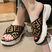 FENDI Newest Popular Women Casual F Letter Print Thick Soles Sandal Slipper Shoes Golden
