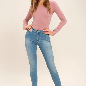 Top Hits Mauve Long Sleeve Crop Top