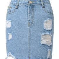 Blue Denim High Waist Mini Skirt
