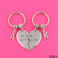 SRA YYX6 Best Bitches Keychain Best Friend Keychain BFF KeyChain Set Broken Heart Keychain Best Bitch Gift-Christmas Gift-Stocking Stuffer