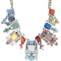 Multi Rainbow Faceted Stone Statement Necklace by Charlotte Russe