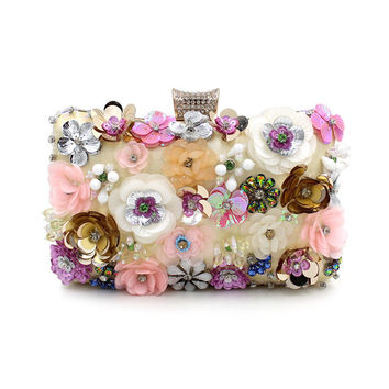 Single-Side Colorful Flowers Evening Clutch Bags Small Fashion Manual Appliques Chain Clutches Women Purses and Handbags