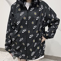 NIKE New fashion letter hook floral print couple long sleeve coat windbreaker Black