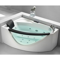 5' Right Drain Rounded Clear Modern Corner Whirlpool Bath Tub with Fixtures
