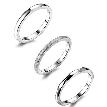 JOERICA 3Pcs 2mm Stainless Steel Women's Stackable Eternity Ring Band Engagement Wedding Ring Set 4-9 stainless-steel, silver tone