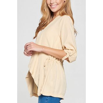 Casual Long Sleeve Tencel Jacket With Adjustable Drawstring