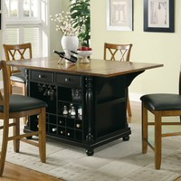 Martha II collection antique country style black finish and cherry finish wood drop leaf top large kitchen storage island