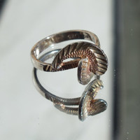 Silver Wrap Around Midi Band Ring With Silver and Gold Accents, Size 6, Sterling Silver Ring, Fine Precious Metal Jewelry, Free Shipping USA