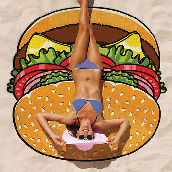 Hamburger Cheeseburger Beach Towel Blanket