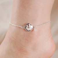 Sand Dollar Seed Bead Chain Link Anklet