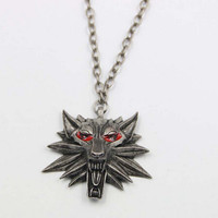 2015 Hot Sale Pendant Wizard Witcher 3 Medallion Pendant Necklace Wolf Head Necklace U Pick Color Halloween Necklace & Pendants