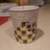 Soy 100% ~Tropical island fruit scented candle in a bedazzled tea cup
