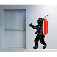 Vinyl Wall Decal Astronaut Spaceman Room Decoration for Office Stickers Mural 28.5 in x 46 in (Fire Extinguisher approx 23.6 in (60cm)) m756