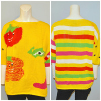 Vintage 1990's Fruit and Vegetable Short Sleeve Knit Sweater Food With Faces Smiling Vegetables Yellow Colorful Top Shirt Size Large