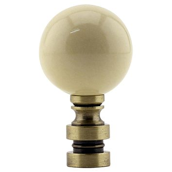 """2""""H Ceramic  35mm Ivory Ball Antique Base Finial"""