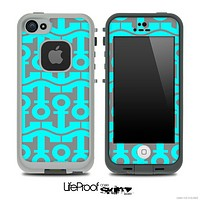 Gray and Turquoise Collage Skin for the iPhone 5 or 4/4s LifeProof Case
