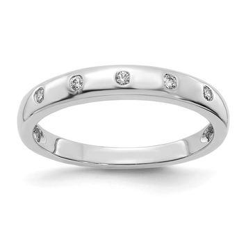 14k White Gold Bezel Set Diamond Band
