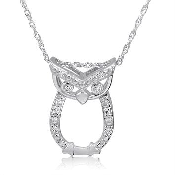 Diamond Owl Pendant Necklace in Sterling Silver on an 18 inch Sterling Silver Chain