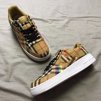 Nike x Burberry Rainbow Vintage Check Air Force 1 Low Fashion Running Sneakers