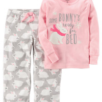 2-Piece Bunny Cotton & Fleece PJs