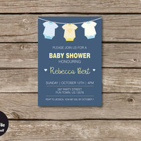 Onesuit Baby Shower Invitation, Personalized Printable Party Invite, Celebration Announcement, Baby Boy, Cyan Cobalt And Light Blue, Yellow