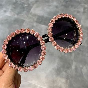 Pink Round Bling Sunglasses Shades