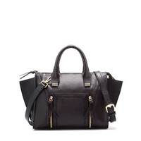 MINI LEATHER CITY BAG WITH ZIPS