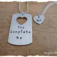 Long Distance Relationship - Dog Tag and Heart - Matching Set
