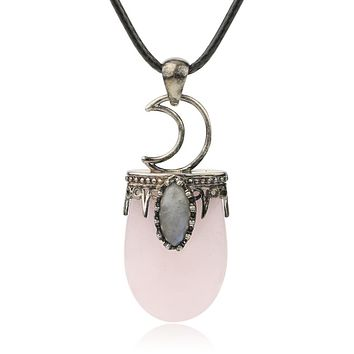 Natural Stone Crystal Pendants Necklace Silver Quartz Necklace Jewelry Crown Moon Charm Gift