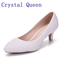 Crystal Queen White Pearl Wedding Shoes Bridal Women Shoes Elegant  Heels Evening Party Shoes High Heel 5CM Dress Pumps