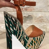 NIB Christian Louboutin Tromploia 160 Brown Strap Wedge Sandal Heel Pump 36 $995
